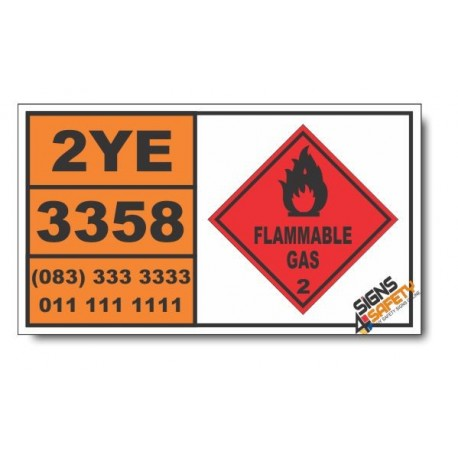 UN3358 Refrigerating machines, containing flammable, non-toxic, liquefied gas, Flammable Gas (2), Hazchem Placard