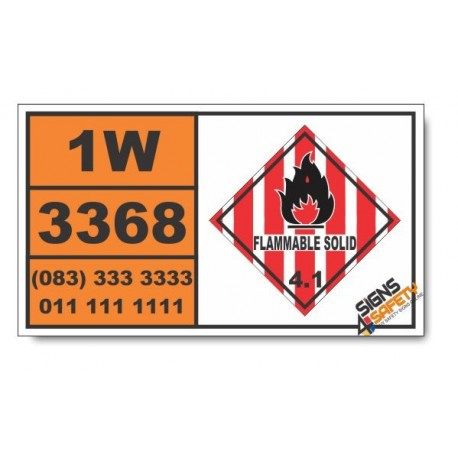UN3368 Trinitrobenzoic acid, wetted, Flammable Solid (4), Hazchem Placard