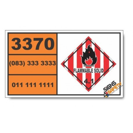 UN3370 Urea nitrate, wetted, Flammable Solid (4), Hazchem Placard