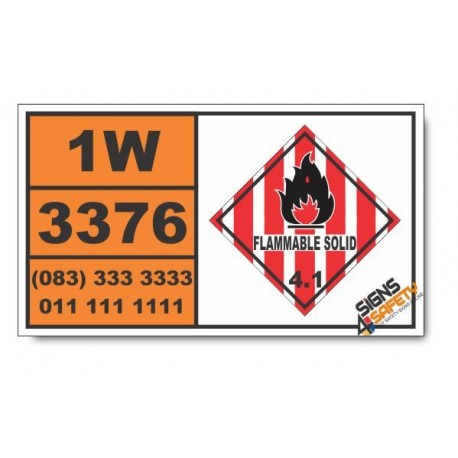UN3376 4-Nitrophenylhydrazine, Flammable Solid (4), Hazchem Placard