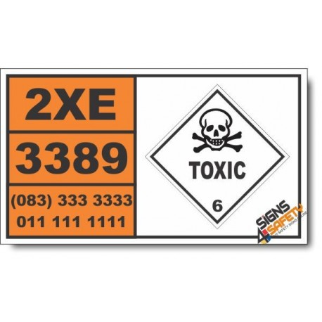 UN3389 Toxic by inhaltion liquid, corrosive, n.o.s., Toxic (6), Hazchem Placard