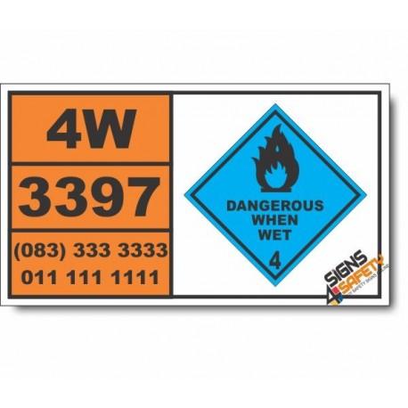 UN3397 Organometallic substance, solid, water reactive, self-heating, Dangerous When Wet (4), Hazchem Placard