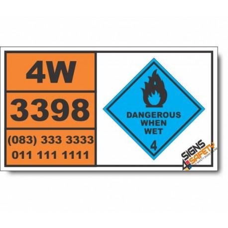 UN3398 Organometallic substance, liquid, water-reactive, Dangerous When Wet (4), Hazchem Placard