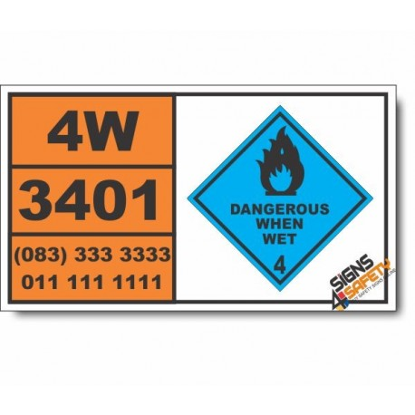 UN3401 Alkali metal amalgam, solid, Dangerous When Wet (4), Hazchem Placard
