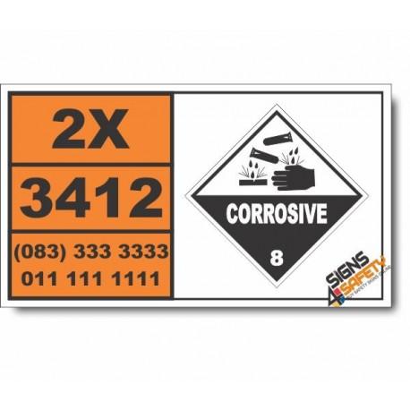 UN3412 Formic acid, Corrosive (8), Hazchem Placard