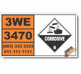 UN3470 Paint related material corrosive, flammable, Corrosive (8), Hazchem Placard