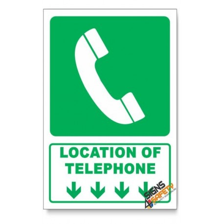 (GA13/D1) Telephone Sign, Arrow Down, Descriptive Safety Sign