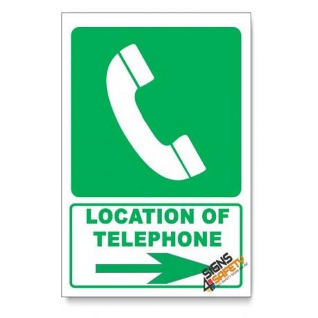 (GA13/D2) Telephone Sign, Arrow Right, Descriptive Safety Sign