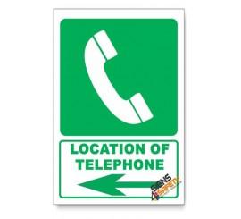 (GA13/D3) Telephone Sign, Arrow Left, Descriptive Safety Sign