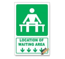 (GA14/D1) Waiting Area Sign, Arrow Down, Descriptive Safety Sign