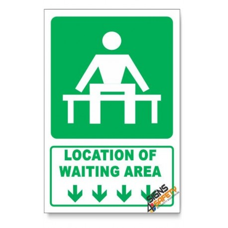 (GA14/D1) Waiting Area Sign, Arrow Down, Descriptive Safety Sign