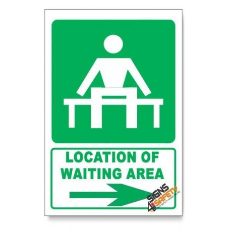 (GA14/D2) Waiting Area Sign, Arrow Right, Descriptive Safety Sign