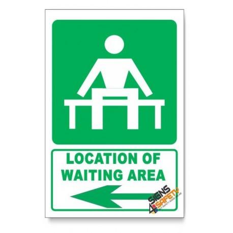 (GA14/D3) Waiting Area Sign, Arrow Left, Descriptive Safety Sign