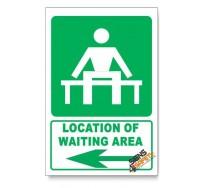 (GA14/D3) Waiting Area Sign, Arrow Left, Descriptive Safety Sign
