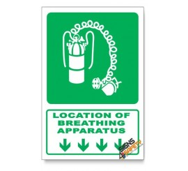 (GA24/D1) Breathing Apparatus Sign, Arrow Down, Descriptive Safety Sign