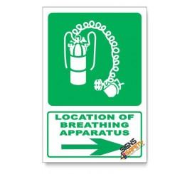 (GA24/D2) Breathing Apparatus Sign, Arrow Right, Descriptive Safety Sign