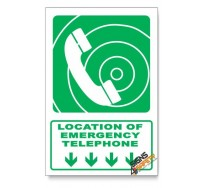 (GA15/D1) Emergency Telephone Sign, Arrow Down, Descriptive Safety Sign