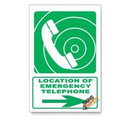 (GA15/D2) Emergency Telephone Sign, Arrow Right, Descriptive Safety Sign