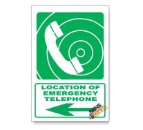 (GA15/D3) Emergency Telephone Sign, Arrow Left, Descriptive Safety Sign