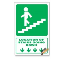 (GA17/D1) Stairs Going Down Sign, Arrow Down, Descriptive Safety Sign