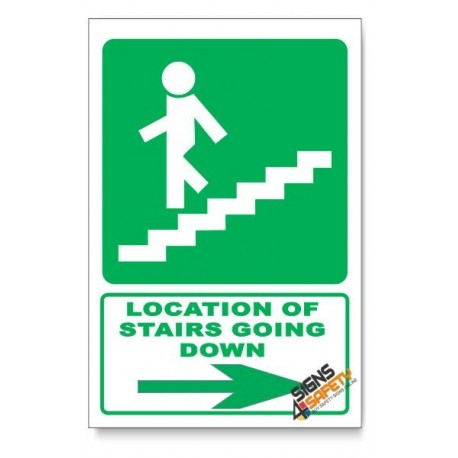 (GA17/D2) Stairs Going Down Sign, Arrow Right, Descriptive Safety Sign