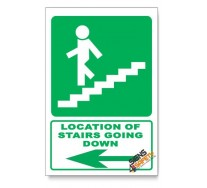 (GA17/D3) Stairs Going Down Sign, Arrow Left, Descriptive Safety Sign