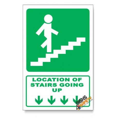 (GA18/D1) Stairs Going Up Sign, Arrow Down, Descriptive Safety Sign
