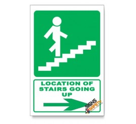 (GA18/D2) Stairs Going Up Sign, Arrow Right, Descriptive Safety Sign