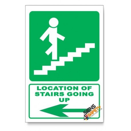 (GA18/D3) Stairs Going Up Sign, Arrow Left, Descriptive Safety Sign