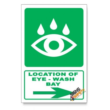 (GA19/D2) Eye-Wash Bay Sign, Arrow Right, Descriptive Safety Sign