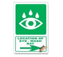 (GA19/D2) Eye-Wash Bay Sign, Arrow Right, Descriptive Safety Sign