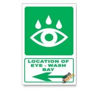 (GA19/D3) Eye-Wash Bay Sign, Arrow Left, Descriptive Safety Sign