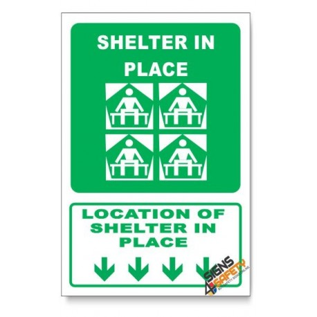 (GA25/D1) Shelter In Place Sign, Arrow Down, Descriptive Safety Sign