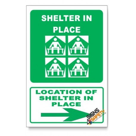 (GA25/D2) Shelter In Place Sign, Arrow Right, Descriptive Safety Sign