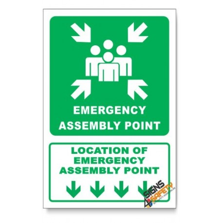 (GA26/D1) Emergency Assembly Point Sign, Arrow Down, Descriptive Safety Sign