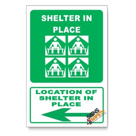 (GA25/D3) Shelter In Place Sign, Arrow Left, Descriptive Safety Sign