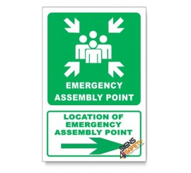 (GA26/D2) Emergency Assembly Point Sign, Arrow Right, Descriptive Safety Sign