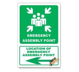 (GA26/D3) Emergency Assembly Point Sign, Arrow Left, Descriptive Safety Sign