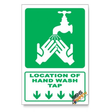 (GA27/D1) Hand Wash Tap Sign, Arrow Down, Descriptive Safety Sign