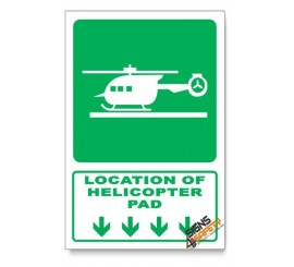 (GA28/D1) Helicopter Pad Sign, Arrow Down, Descriptive Safety Sign