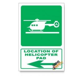 (GA28/D3) Helicopter Pad Sign, Arrow Left, Descriptive Safety Sign