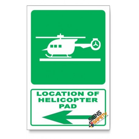 (GA28/D3) Helicopter Pad Sign, Arrow Left, Descriptive Safety Sign