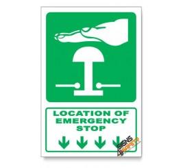 (GA29/D1) Emergency Stop Sign, Arrow Down, Descriptive Safety Sign