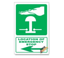 (GA29/D3) Emergency Stop Sign, Arrow Left, Descriptive Safety Sign