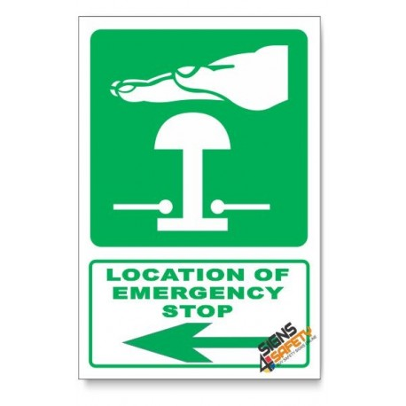 (GA29/D3) Emergency Stop Sign, Arrow Left, Descriptive Safety Sign