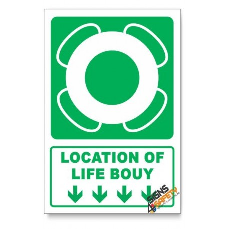 (GA30/D1) Life Bouy Sign, Arrow Down, Descriptive Safety Sign