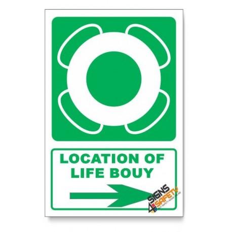 (GA30/D2) Life Bouy Sign, Arrow Right, Descriptive Safety Sign