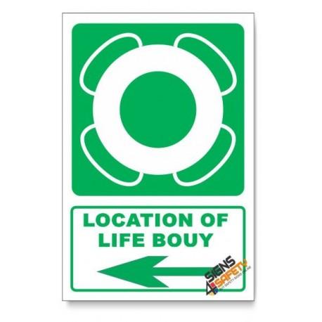 (GA30/D3) Life Bouy Sign, Arrow Left, Descriptive Safety Sign