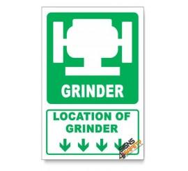 (IN1/D1) Grinder Sign, Arrow Down, Descriptive Safety Sign