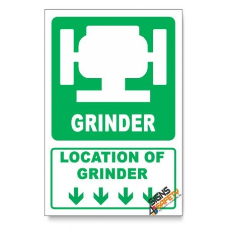 (IN1/D1) Grinder Sign, Arrow Down, Descriptive Safety Sign